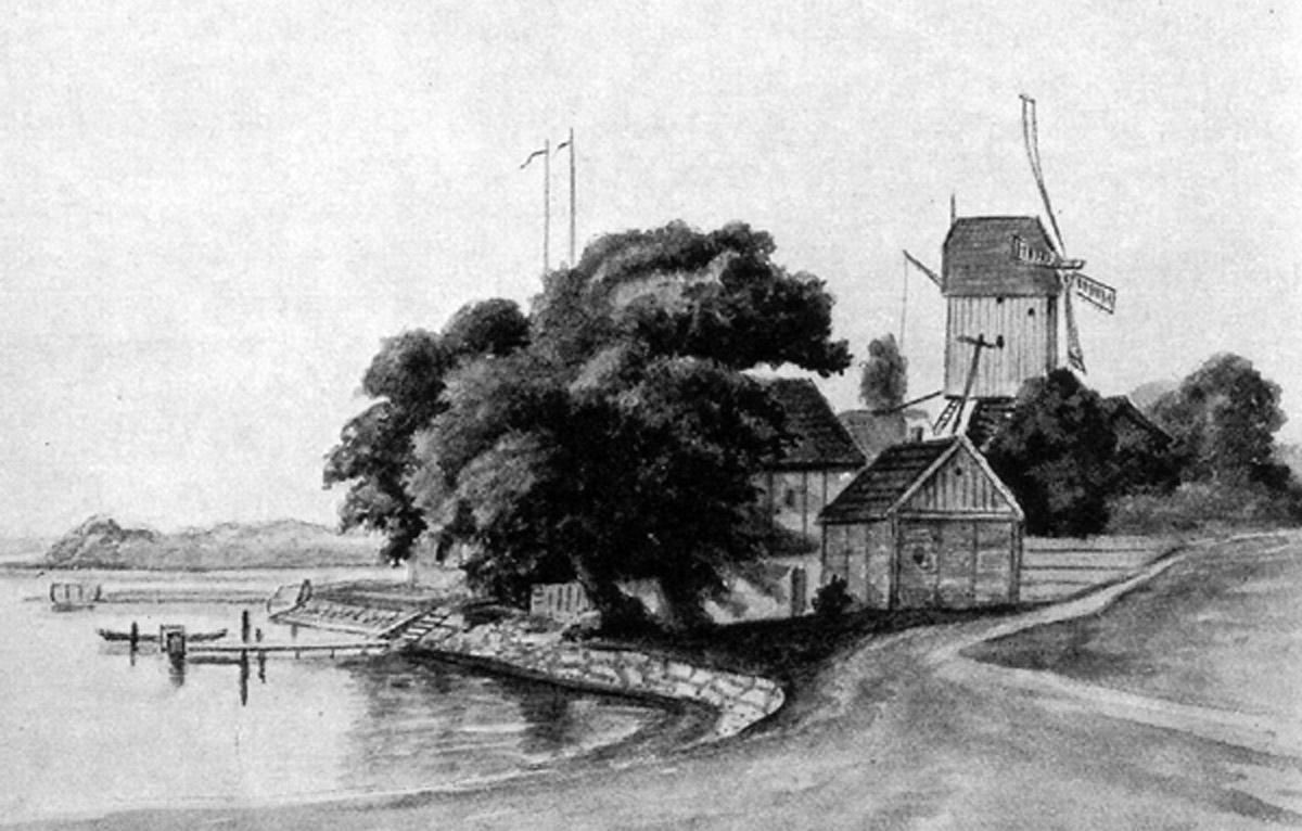 Die Lohmühle an der Alster um 1845